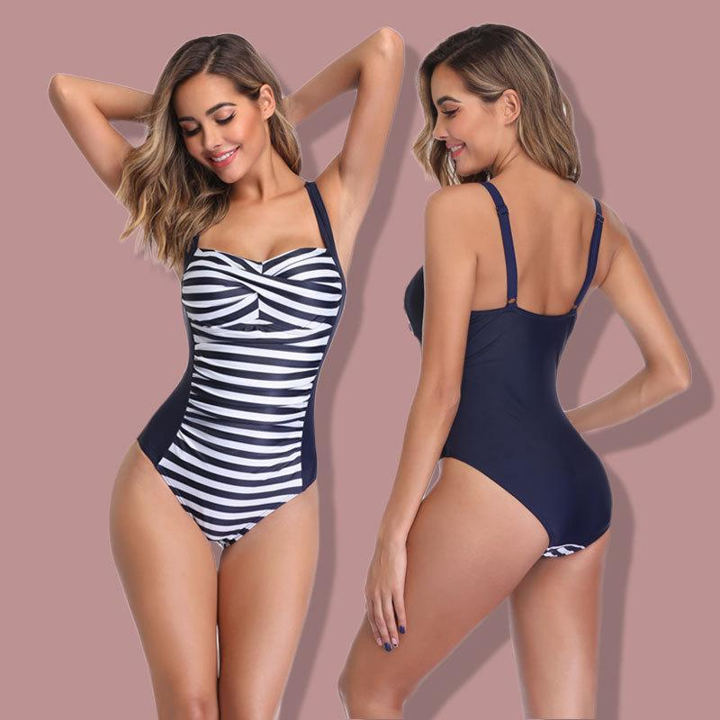 Sexy Backless Stripes One Piece Swimsuit