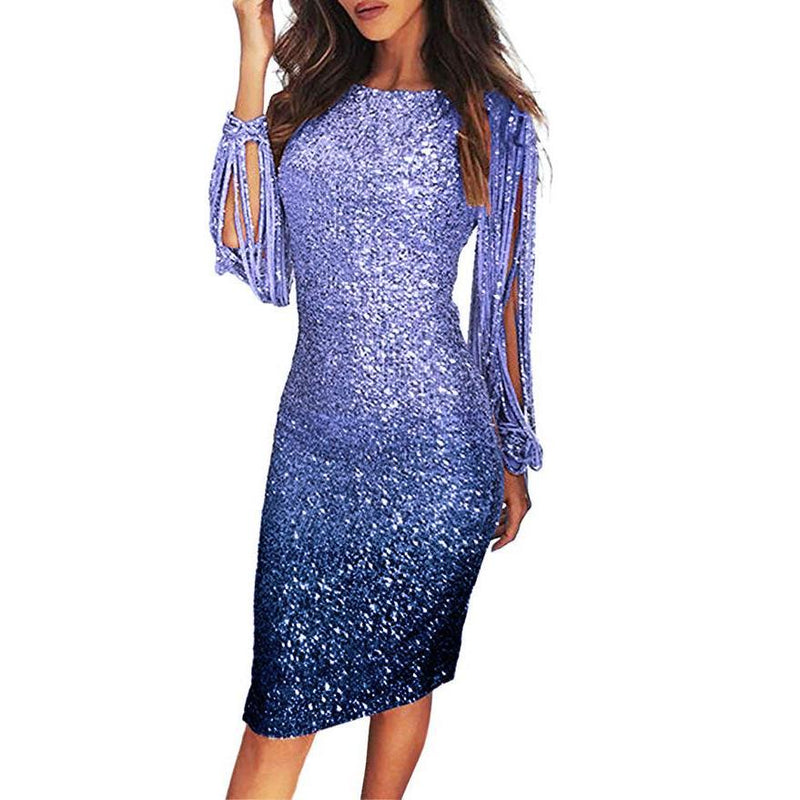Ins Hot Elegant Sequin Tassel Bodycon Cocktail Party Midi Dress