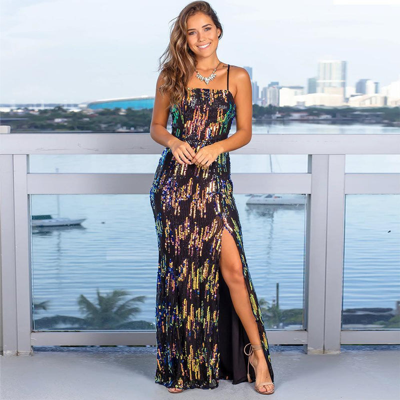 Ins Hot Elegant Sequin High Slit Strap Long Evening Dress
