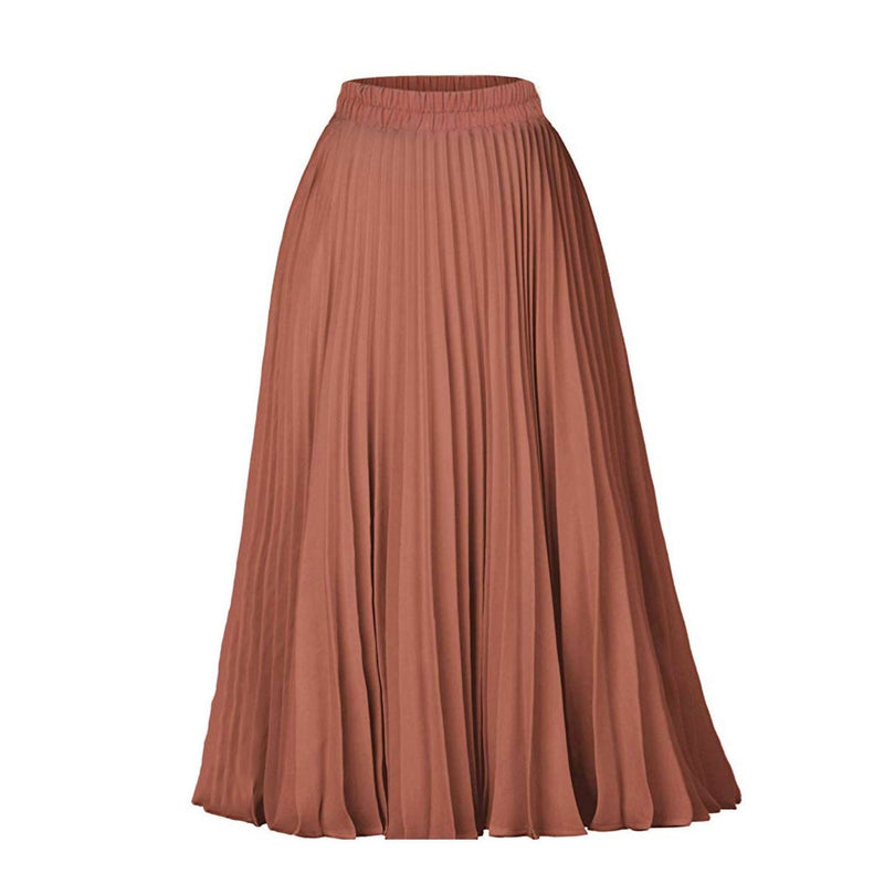 High Waist Pleated A-Line Swing Skirt