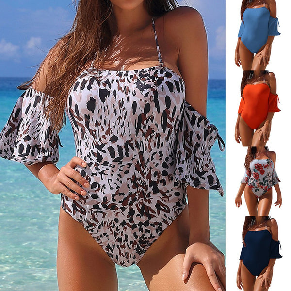Women Sexy Backless Halter Off Shoulder One Piece Swimsuit Beach Swimwear