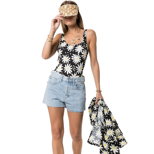 Women Sunflower Print One Piece Swimsuit Beach Swimwear