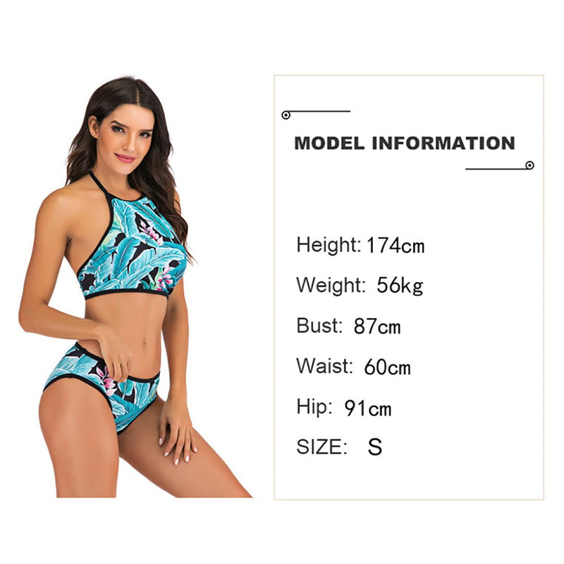 Women Leaves Print Conservative Two Pieces Swimsuit U-neck Bikini Set
