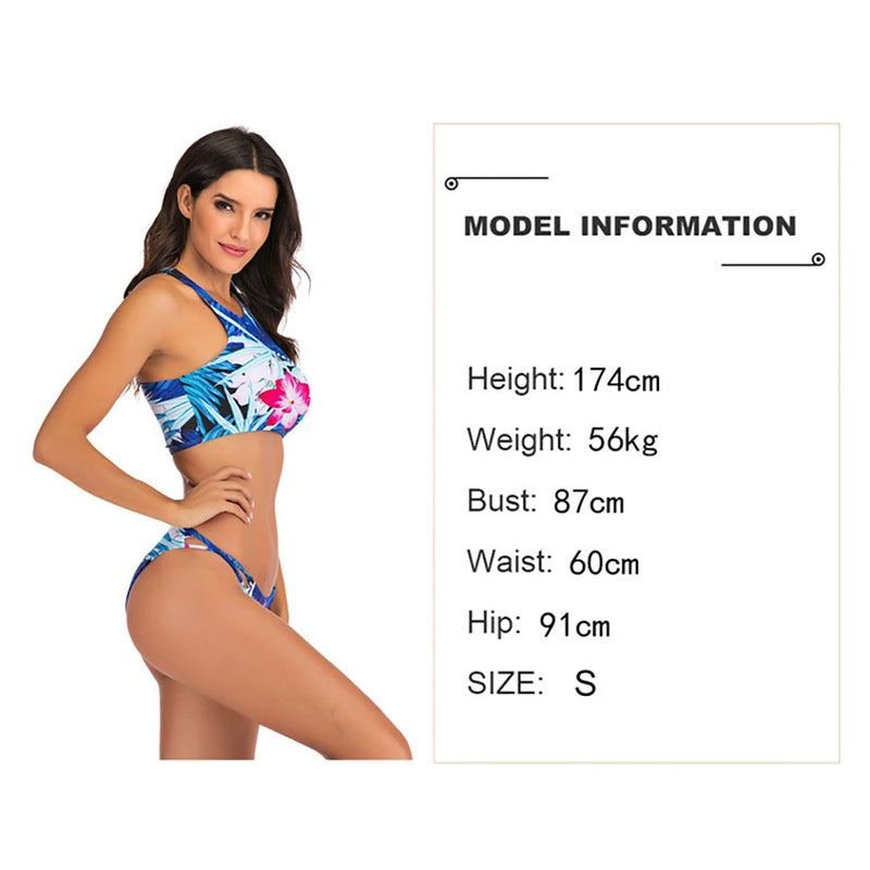 Women Flowers Print Conservative Two Pieces Swimsuit Bikini Set