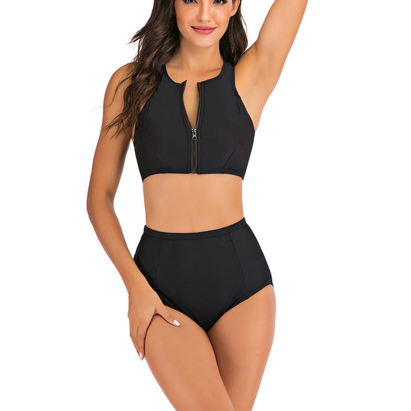 Women Conservative Zip Two Pieces Swimsuit Bikini Set