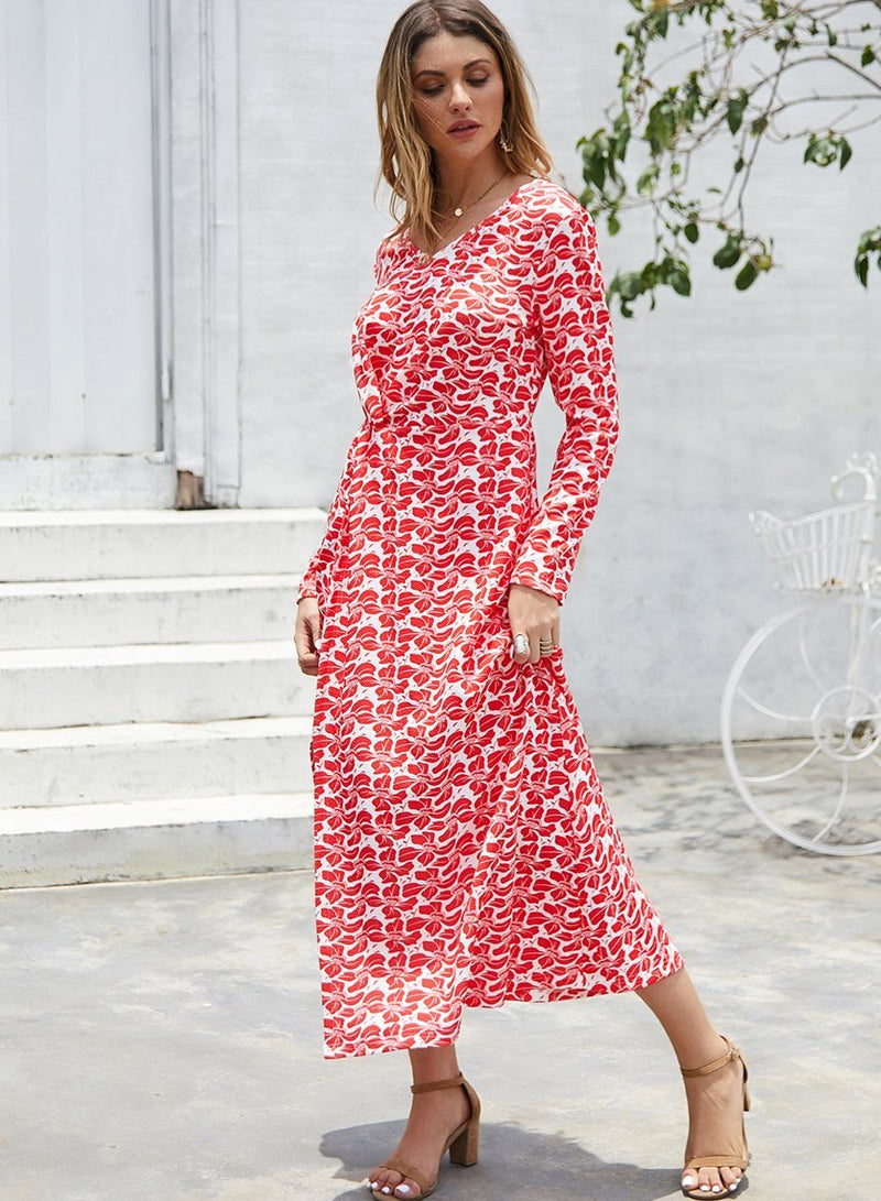 Women V-neck Print Slit Long Sleeve Day Dress