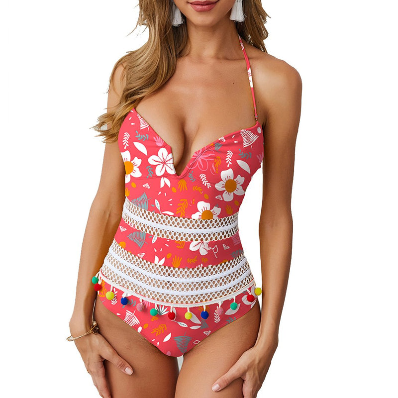 Women Deep V Backless Halter One Piece Swimsuit