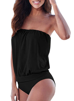 Women's Fashion Solid One Piece Strapless Swimsuit