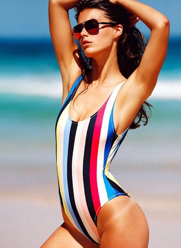 Women's Color Block Striped Scoop Neck One Piece Swimsuit
