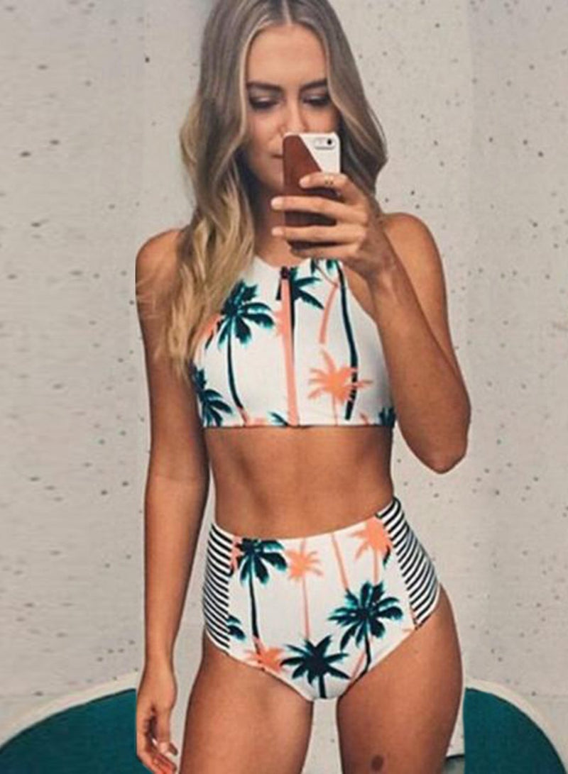 Women's 2 Piece Palm Tree Printed Stripe High Waist Swimwear