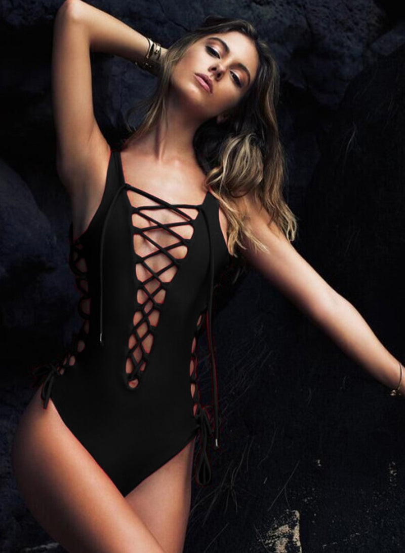 Solid Lace-Up Hollow Out One-Piece Swimsuit