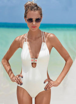 Women's Deep V Halter Backless One Piece Swimsuit