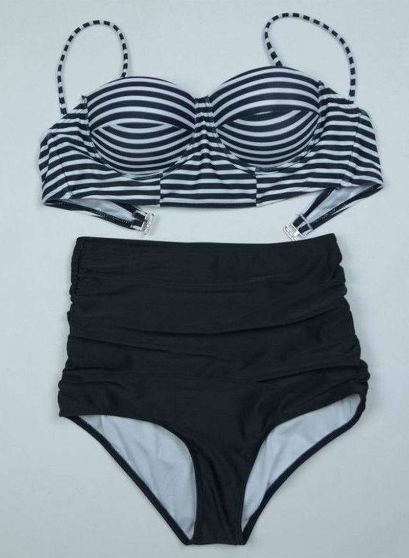 Women's Striped High Waist 2 Piece Bikini set