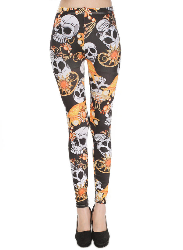 Women's Elastic Waist Skull Printed Ankle Length Leggings