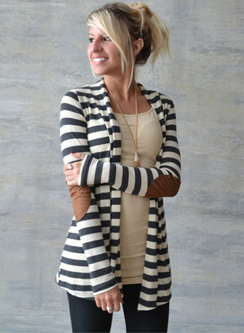 Women's Casual Striped Long Sleeve Open front Cardigan