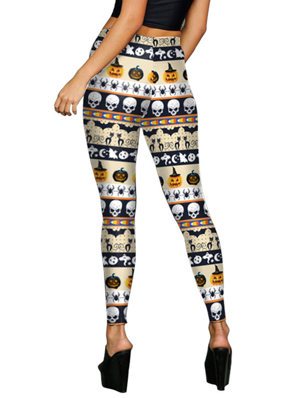 Women's Halloween Skinny Fit Pumpkin Skull Printed Leggings