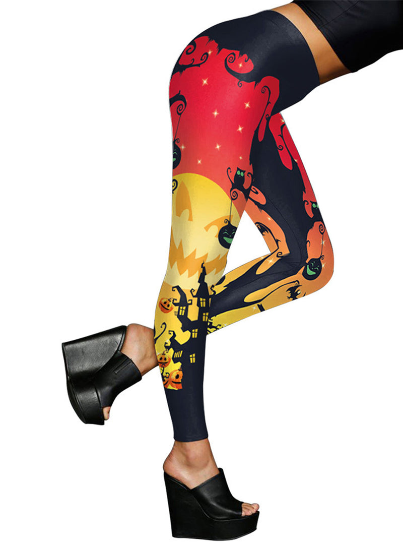 Women's Fashion Halloween Ghost Printed Skinny Leggings