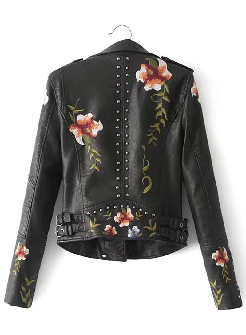 Women's Studded Floral Embroidery PU Jacket