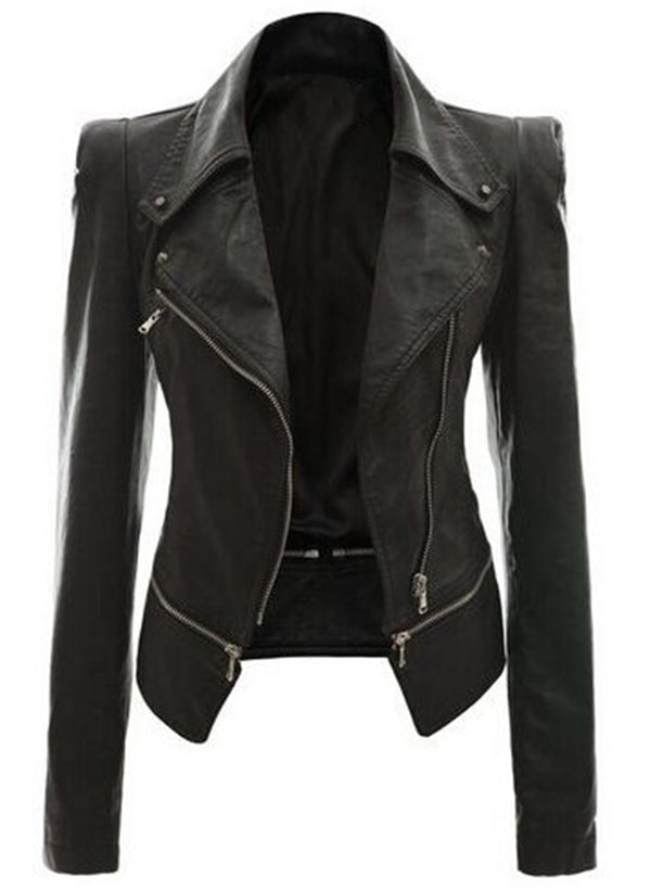 Women's Fashion PU Zip Motorcycle Jacket