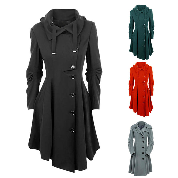 Women Irregular Hem Double Woolen Coat