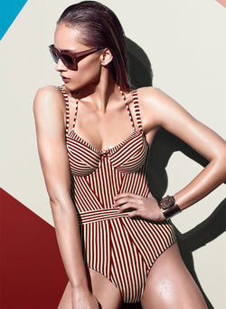Women's Fashion Striped One Piece Slim Fit Swimsuit