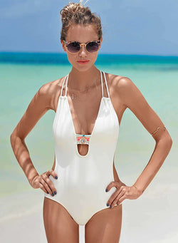 Women's Fashion One Piece Slim Fit Cut out Swimsuit