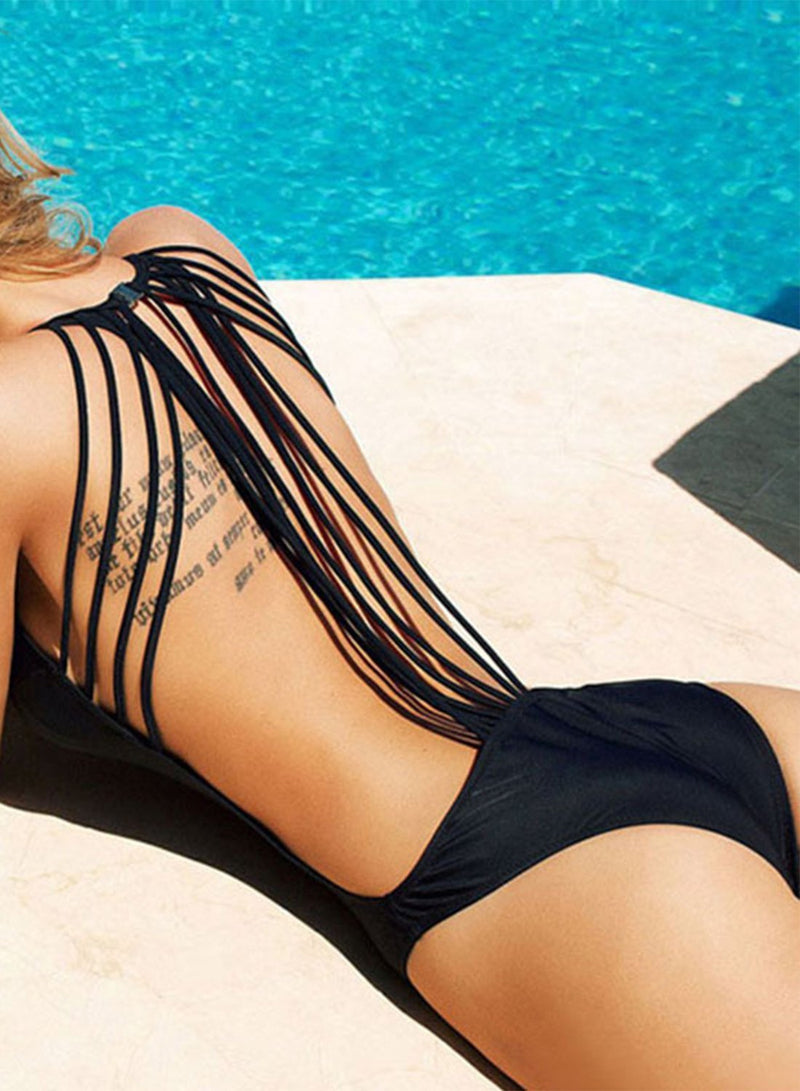 Women's Fashion Back Strappy One Piece Slim Fit Swimsuit