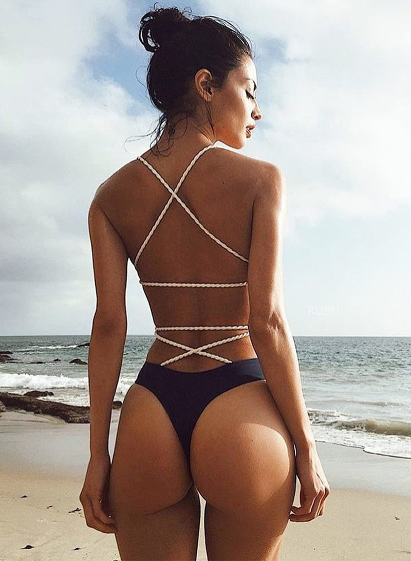 Women's Fashion Back Cross Strap One Piece Swimsuit