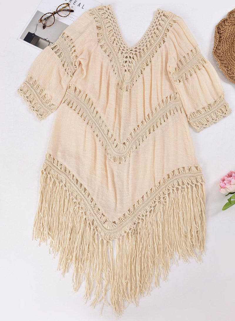 Women's Fashion Tassel Crochet Bikini Cover ups