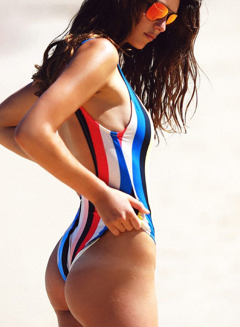Women's Fashion Vertical Stripe One Piece Swimsuit