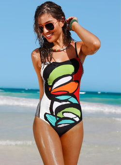 Women's One Piece Spaghetti Strap Printing Swimsuit