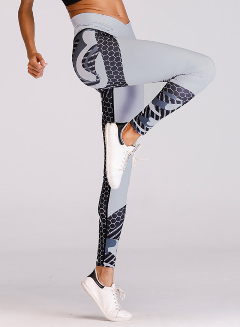 Women's Color Block Elastic Skinny Yoga Leggings