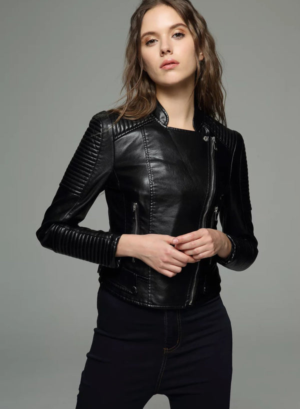 Women Short PU  Zip-up Motorcycle Jacket
