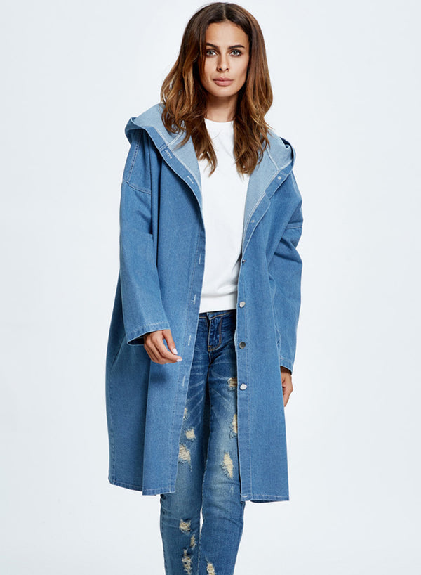 Women Blue Hooded Long Jean Denim Casual Jacket