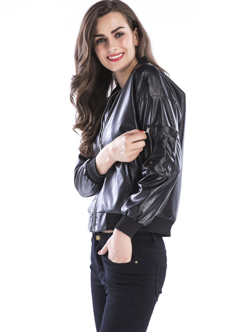 Women Fashion Black Stand Collar Zip Leather Outerwear Jacket