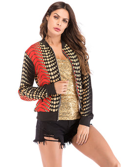 Women Gradient Long Sleeved Zipper Cardigan Baseball Jacket