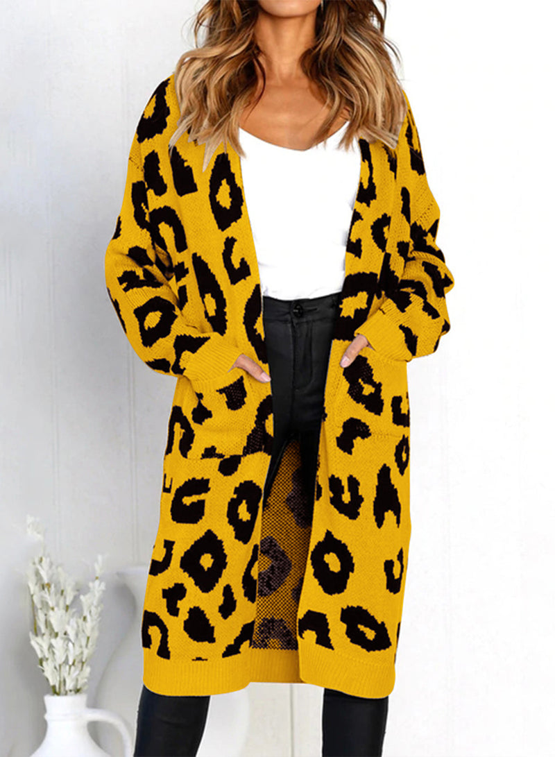 Women Leopard Printed Pocket Cardigan Sweater
