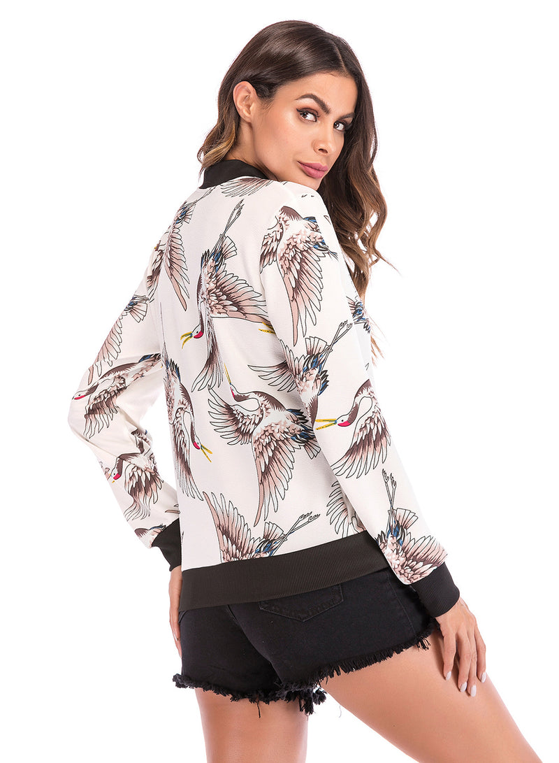 Women's Crane Printed Long Sleeve Full Zip Jackets With Pockets
