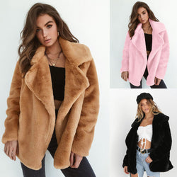 Women Sexy Plush Lapel Comfort Slim Solid Color Outerwear Coat