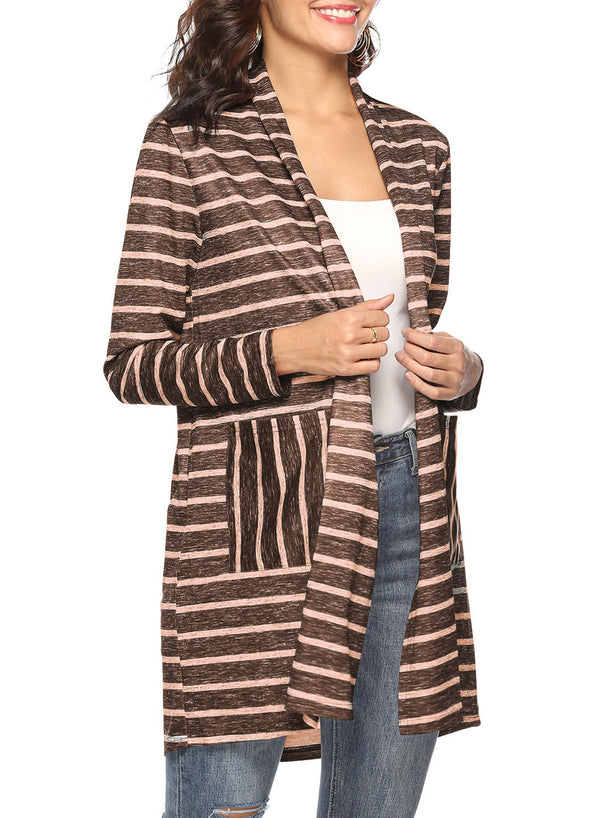 Women Stripe Double Pockets Stitching Shawl Long Cardigan
