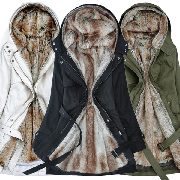 Women Faux Fur Collar Lambskin Cotton Slim Hooded Coat