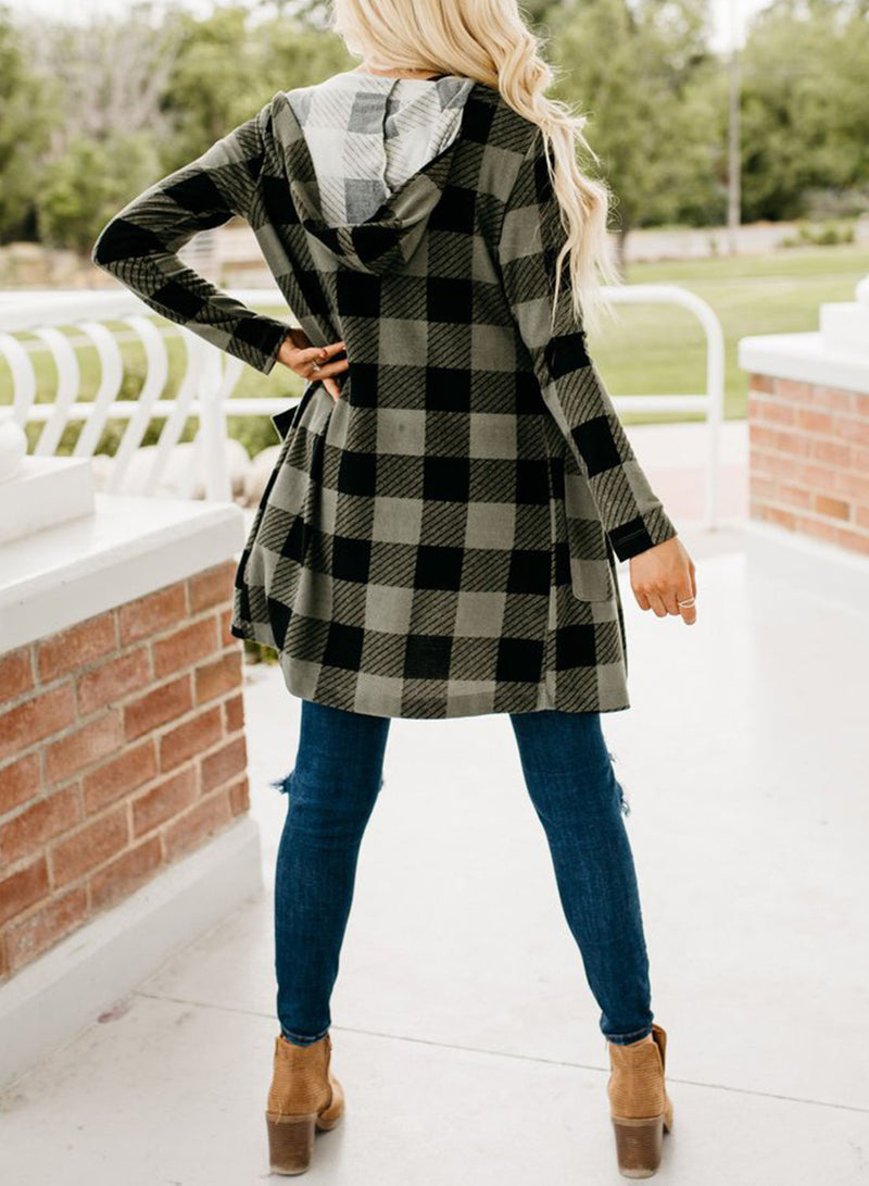 Women Plaid Printed Long Sleeve Pocket Hooded Cardigan