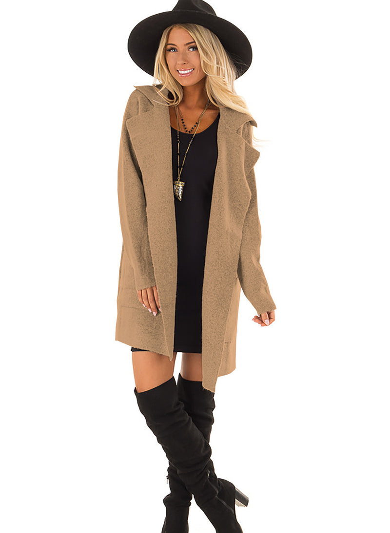 Women Warm Woolen Pockets Long Sleeve Cardigan Coat