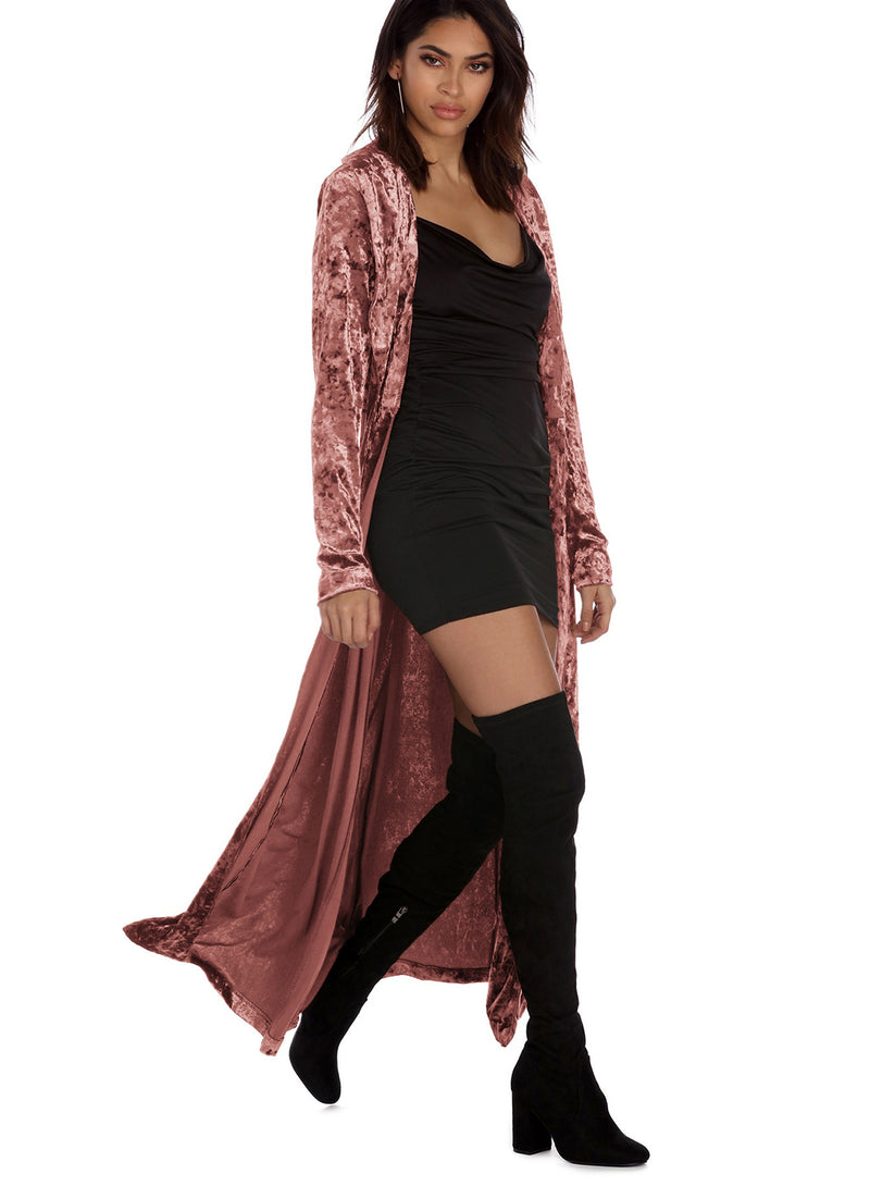 Women Long Sleeve Lengthened Velvet Trench Outerwear Cardigan