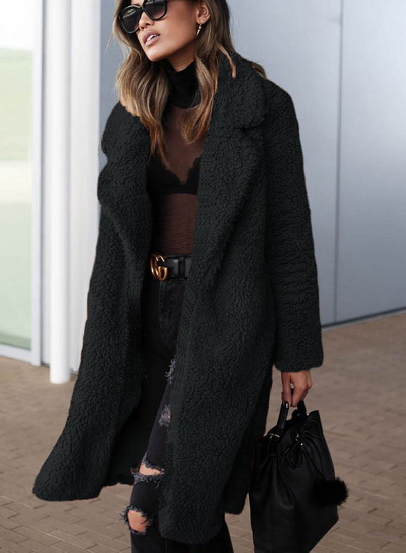 Winter Fashion Lapel Plush Solid Color Long Coat