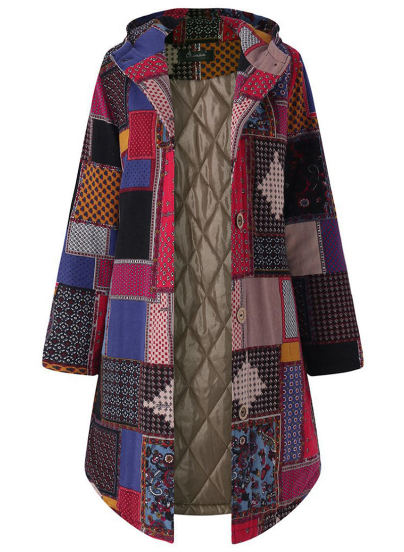 Women Multicolor Printed Quilted Boho Hooded Long Coat