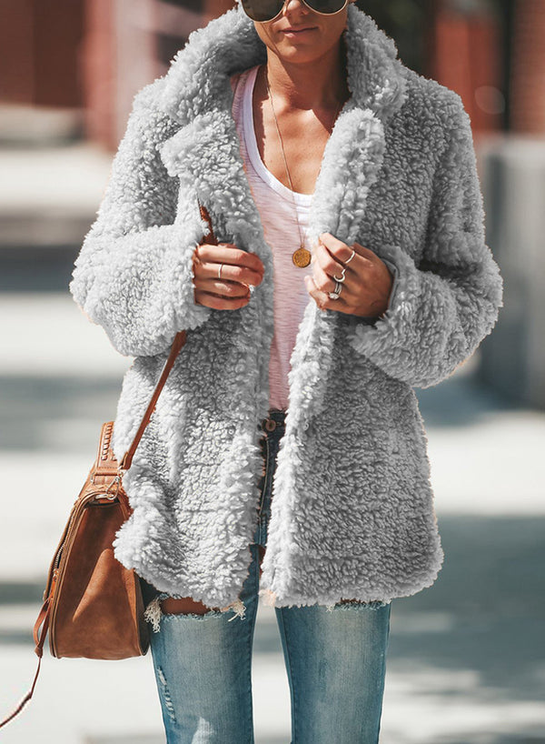 Lapel Solid Color Long Sleeve Plush Cardigan Coat