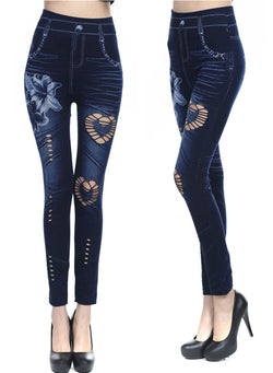 Flower Print Heart Hollow Seamless Cotton Faux Denim Wrap Leggings