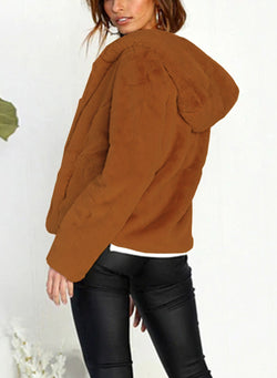 Women Solid Color Long Sleeve Plush Hooded Cardigan Coat