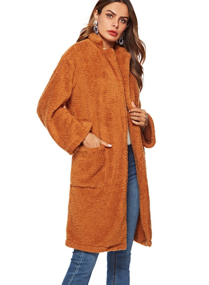 Woolen Big Pocket Solid Color Plush Long Coat